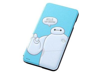 尼德斯Nydus~* 日本迪士尼 大英雄天團 杯麵 Baymax 翻頁皮套 手機殼 5.5吋 iPhone6+ 淺藍