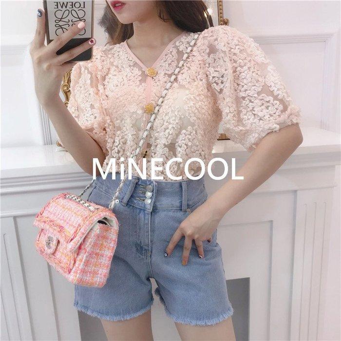 MiNE SHOP韓國高單 時尚短袖修身蕾絲襯衣M9530-2兩色 均碼