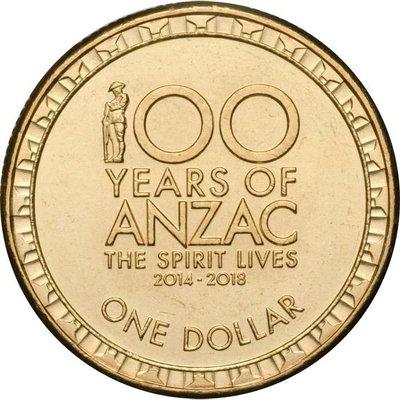 【幣】澳大利亞 2017年發行 1 dollar 澳紐軍團ANZAC 100周年紀念