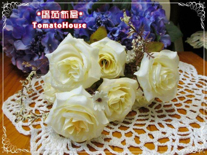 高雄~番茄佈屋家飾 ~~~~7叉秋色孔雀玫瑰人造花 白 ~~~居家 佈置 擺飾 送禮  結