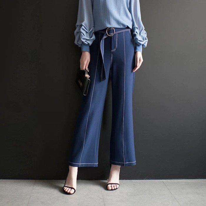 寬鬆顯瘦舒適好穿高腰雪紡闊腿褲深藍色牛仔色雪紡長褲