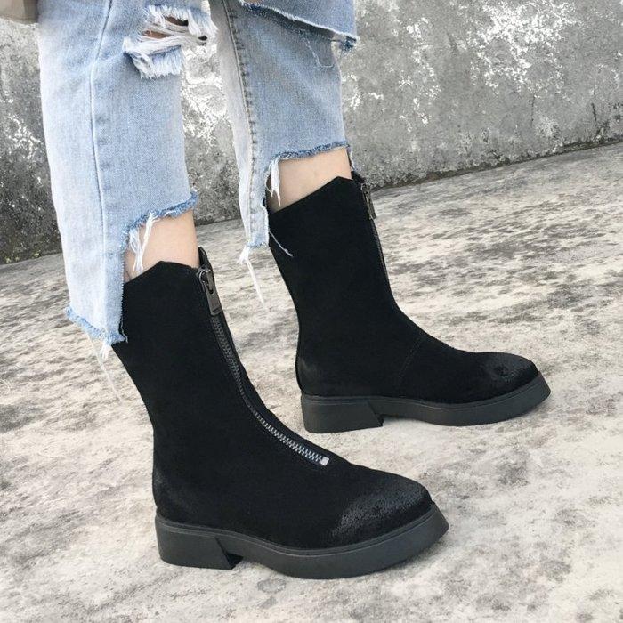 ~Linda~秋冬磨砂皮復古粗跟中跟馬丁靴前拉鍊厚底短靴雪地靴中筒女靴