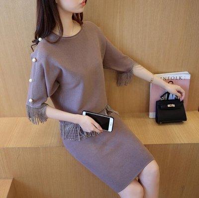 針織衫 時尚兩件套 針織套裙毛衣 氣質套裝裙子 連身裙 流蘇—莎芭