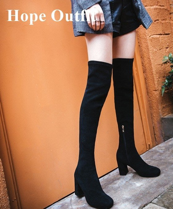 真皮 SW膝上靴 高跟膝上靴 歐美膝上靴 瘦腿靴 秋冬必備