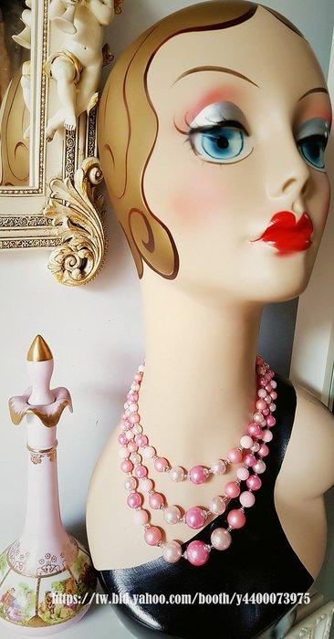黑爾典藏西洋古董~美國60~70's馬卡龍糖果粉塑球日本古董項鍊~Vintage復古珠寶日本古著