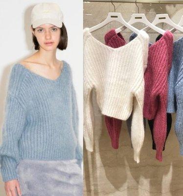 【WildLady】 特促 日本氣質高質感糖果色V領經典純色馬海毛毛衣 上衣SNIDE