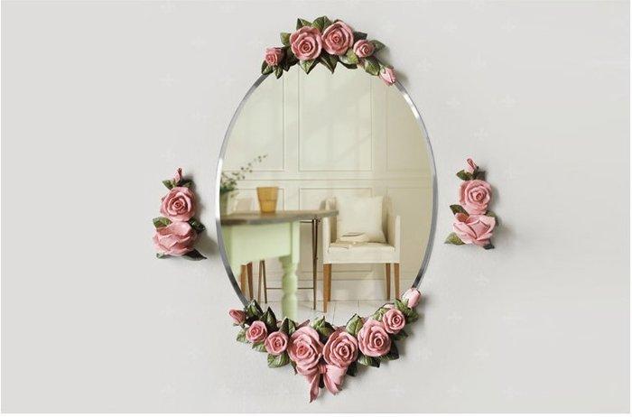 粉紅玫瑰精品屋~歐式玫瑰浴室掛鏡~現貨+預購