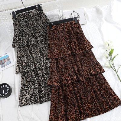 好物多商城 豹紋印花蛋糕半身裙新款韓版寬松多層次高腰百褶荷葉邊中長裙A604