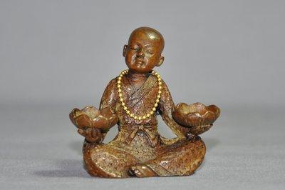 【緣古】老件 銅雕 持蓮小沙彌香插