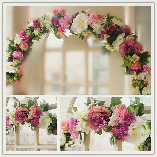 粉紅玫瑰精品屋~高檔仿真花結婚門飾婚禮布置門楣花~