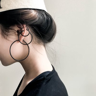 耳環配飾KEYT  黑色簡約日常耳圈耳環