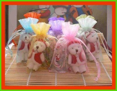 #歡樂聖誕節禮品~聖誕熊&拐杖糖&10色紗袋~金莎巧克力~情人節~~結婚禮小物~二次進場~派對禮