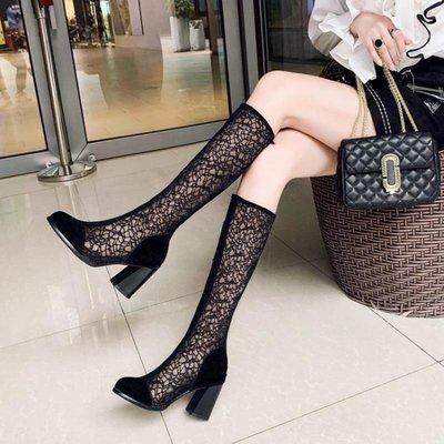 2020新款單靴子女鞋高新款跟粗跟網靴鏤空涼靴網紗新透氣高筒百搭黑色XK-005