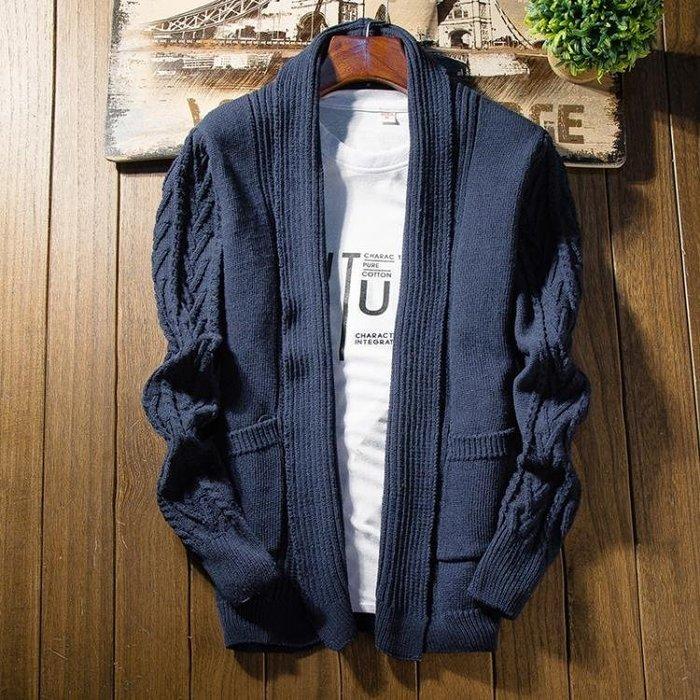 冬新款針織開衫男薄款外套休閒純色時尚扣子修身外穿線衣男潮毛衣