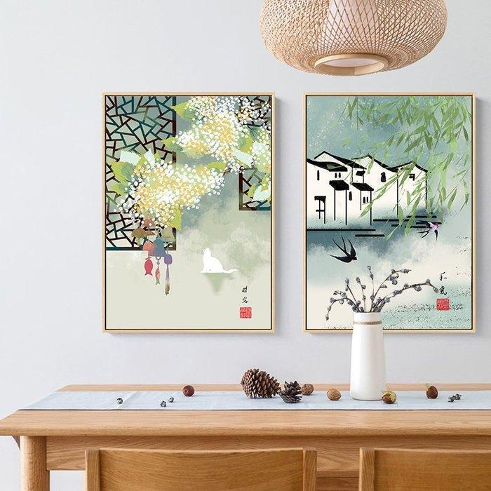 新中式禪意復古風建築民俗裝飾畫畫芯微噴繪打印畫芯掛畫壁畫(3款可選)