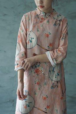 中國風古典意境團扇印花旗袍式長衫(老銀屋)