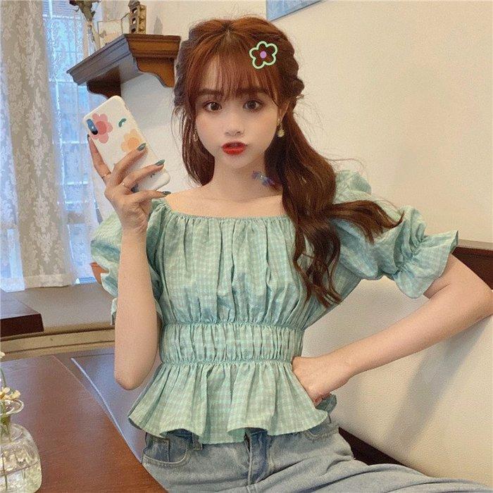 韓版 平口T恤 一字肩 小清新格子 一字領 襯衣女藍色格紋大方領泡泡袖常規款收腰襯衫