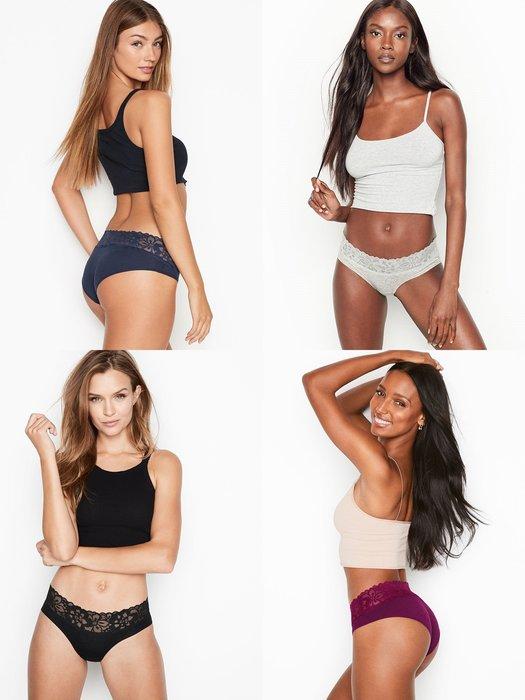 【iBuy瘋美國】全新正品 Victoria's Secret 維多利亞的秘密 蕾絲褲頭棉質包臀款三角褲 現貨XS~M