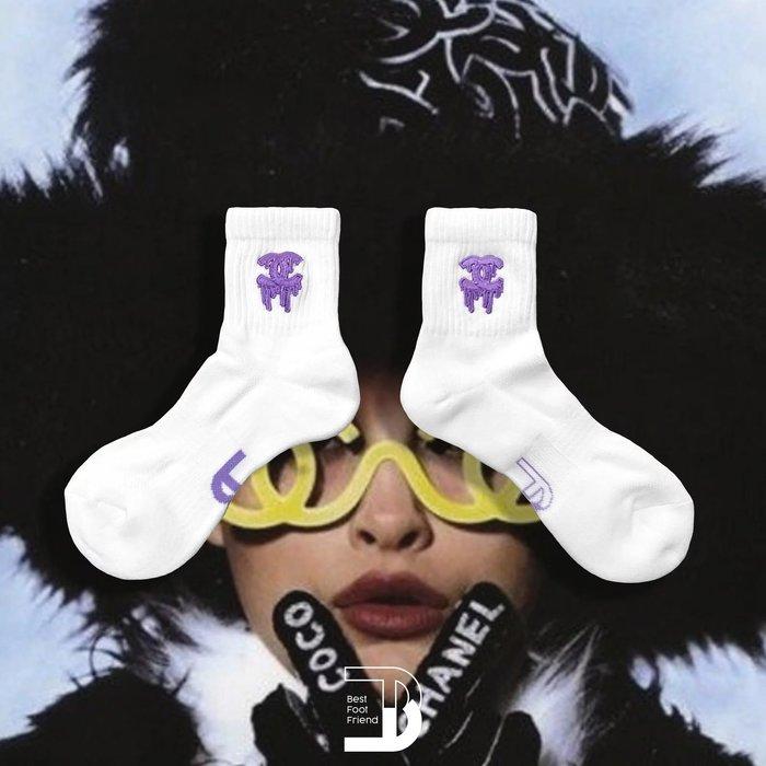 南 2020 5月 Best Foot Friend BFF 襪子 街頭 潮流  運動襪 男女 雙C 電繡短襪  白黑色