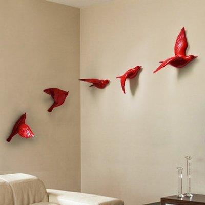 5Cgo【宅神】含稅會員有優惠 37512207097 立體牆飾樹脂小鳥壁貼創裝飾電視沙發背景咖啡館(五隻)DIY裝飾