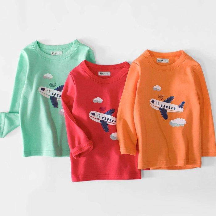 🚛NO.108童衣著👉上衣3色👈新款 男童90~140cm純棉 童趣飛機圖案兒童長袖圓領上衣