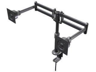 [液晶配件專賣店][820]雙液晶螢幕架.夾桌型.兩節式.人體工學.雙螢幕支架
