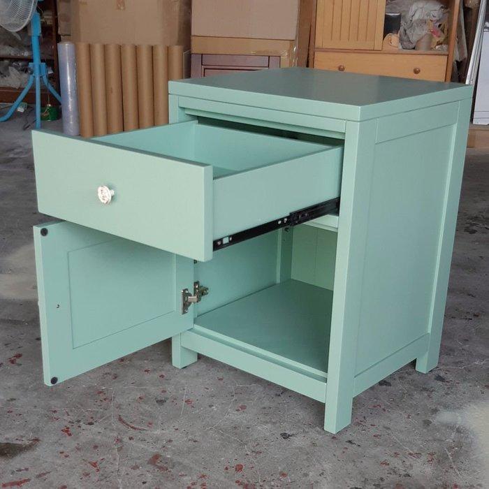 美生活館 全新鄉村風格 紐松原木 藍綠色 單抽單門櫃 收納櫃 風水櫃 角落櫃 電話櫃 玄關櫃 置物櫃也可修改尺寸與顏色