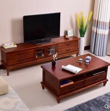 電視櫃 歐式實木電視櫃現代簡約小戶型迷妳美式客廳臥室電視機櫃茶幾組合  JD   全館免運
