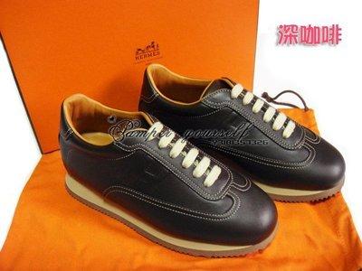 全新 法國真品 HERMES 愛馬仕 QUICK 咖啡色 黑色 真皮 女 休閒鞋 休閒皮鞋 慢跑鞋 運動鞋
