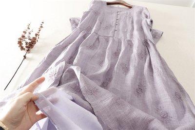 【子芸芳】夏日舒適輕薄苧麻繡花連衣裙~~~有內襯,不透
