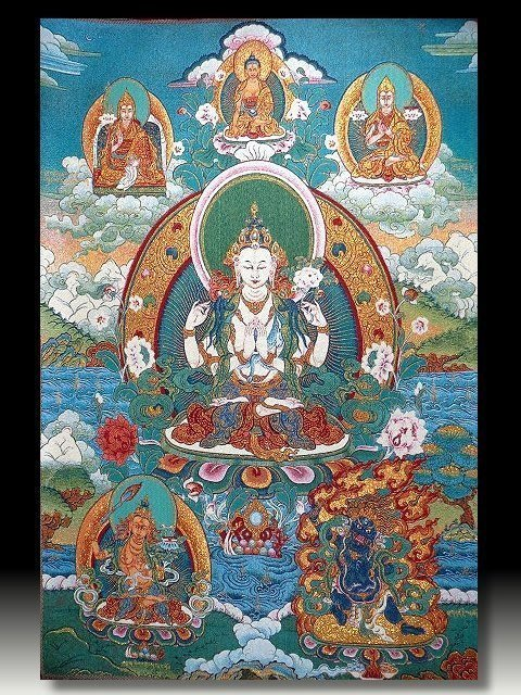 【 金王記拍寶網 】S813 中國西藏藏密佛像刺繡唐卡 觀音刺繡 (大)一張 完美罕見~