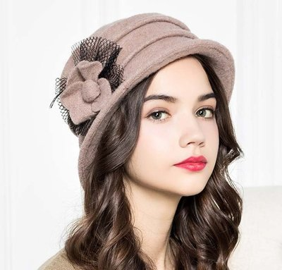新款初秋上新 網紗氈花貝雷帽 舒適羊毛短簷俏皮毛呢帽子
