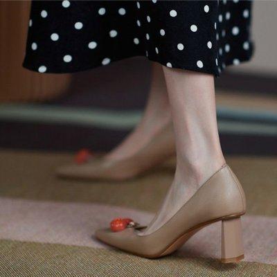 Fashion*高跟鞋~真皮草莓裝飾粗...