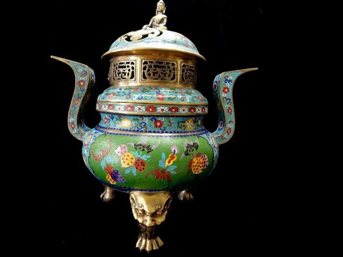藏雅軒-大陸國寶-大型景泰藍銅爐-通天蓋-釋迦佛圓爐