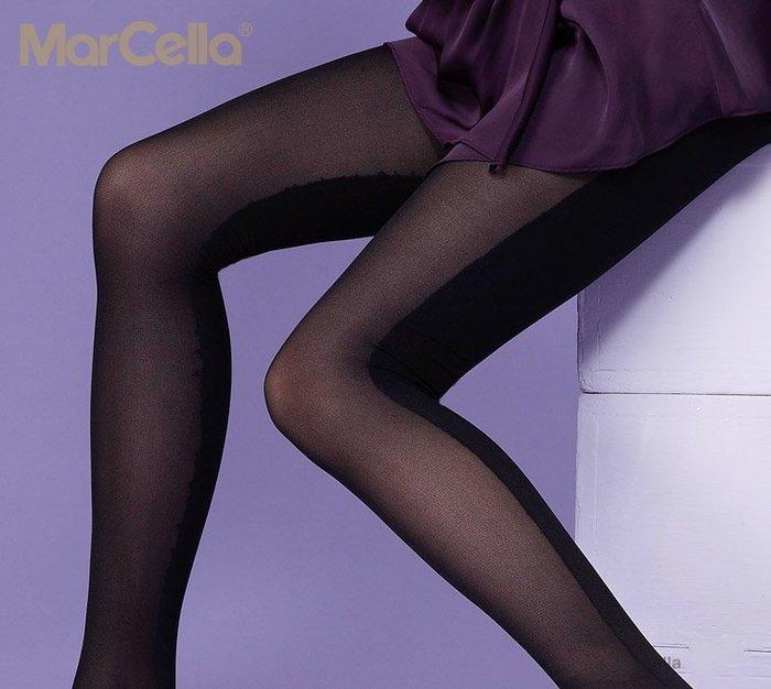 彩虹商城☆ 瑪榭 心機系魔法的演出 雙色造型顯瘦褲襪 造型褲襪 顯瘦黑 前透後不透