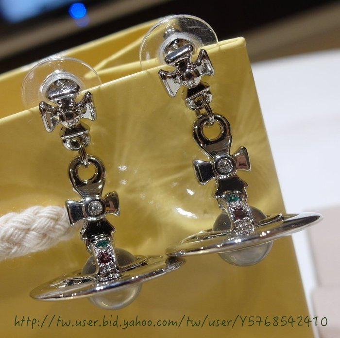 Vivienne Westwood 100% 全新正品 銀色3D立體ORB彩鑽耳環