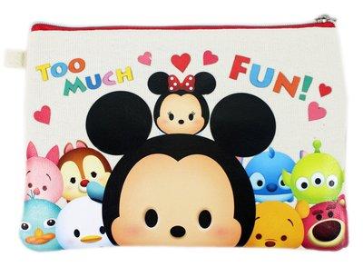【卡漫迷】 Tsum 雙層 化妝包 紅 ㊣版 拉鍊袋 筆袋 萬用包 收納包 萬用袋 三眼怪 迪士尼 Q版 史迪奇 米奇