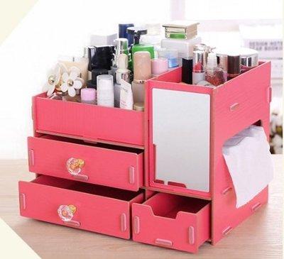 大號 化妝品收納盒DIY桌面 木質收納盒面紙盒化妝鏡木質桌面化妝收納盒拼裝置物衛生紙大容量多 化妝三合一收納櫃