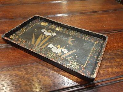 【卡卡頌  歐洲古董】英國帶回(應日本老件)   手工  手繪  花鳥  漆器  盤 w0203✬