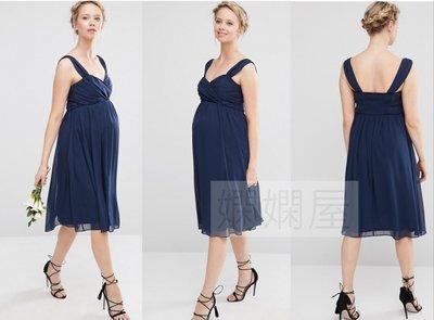 (嫻嫻屋) 英國ASOS 甜美孕媽咪 深藍色V領浪漫寬肩帶小禮服中長洋裝 現貨UK12 孕婦裝 Maternity