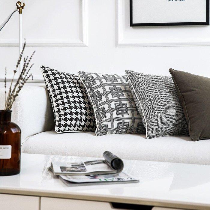 SX千貨鋪-灰色幾何格子抱枕提花針織北歐美式風簡約靠墊靠枕樣板間別墅