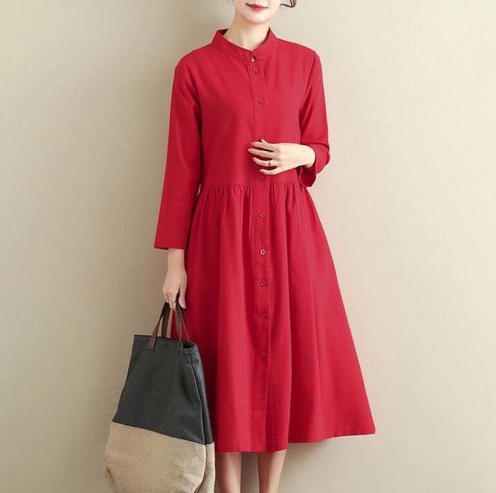 長袖外套 新款民族風女裝 文藝棉麻洋裝 立領中長款寬松純色風衣 連身裙—莎芭