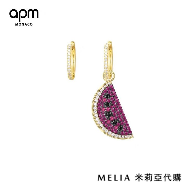 Melia 米莉亞代購 商城特價 數量有限 每日更新 19ss APM MONACO 飾品 不對稱耳環 鑲晶鑽西瓜