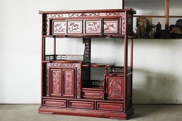【JP.com】日本中古收納櫃 重厚木材の古い茶箪笥 茶棚/茶道具/古民具