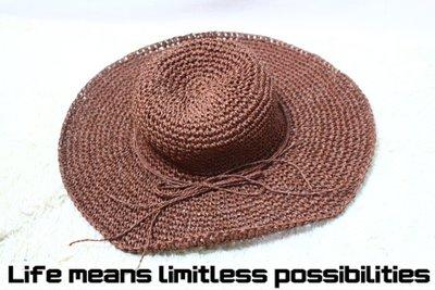 深卡其棉質編織帽 Wide brim hat 歐美 百搭 古著 復古  寬沿 大帽簷 【LtLf】