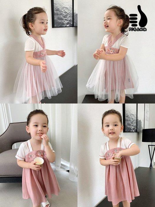 女童漢服連衣裙 中國風 夏裝 兒童女寶寶漢服裙 網紗裙子#井上松柏