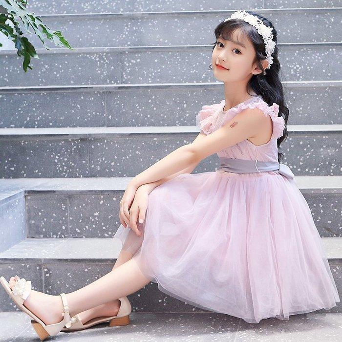 表演服 洋裝 禮服 公主裙 女童公主裙裝小女孩小飛袖 連身裙鏤空韓版蕾絲網紗兒童裙子