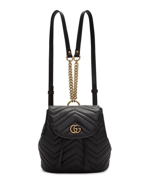 [全新真品代購-F/W18 新品!] GUCCI Mini GG Marmont 2.0 黑色皮革 後背包