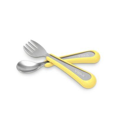 VIIDA Souffle 抗菌不鏽鋼叉匙組-萊姆黃