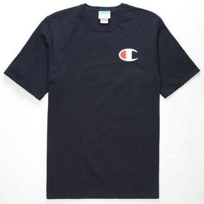 現貨 1XL 潮T CHAMPION 深藍色 大LOGO短T 素T 短袖T恤 超酷個性短T 大尺碼 正品